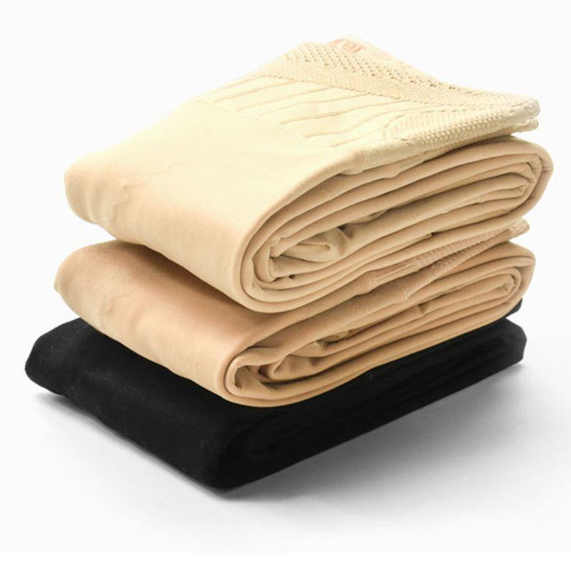 Pantimedias cálidas forradas de lana de imitación gruesas de Invierno para mujer, Control de cintura alta, leggins elásticos de panal de abeja, Medias opacas de elevación