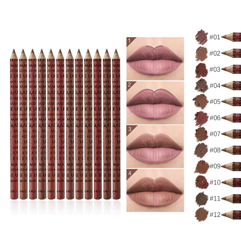 GLAZZI1 12Pcs/set Makeup Long Lasting Matte Lipliner Waterproof Lady Charming Lipstick Pencil Makeup