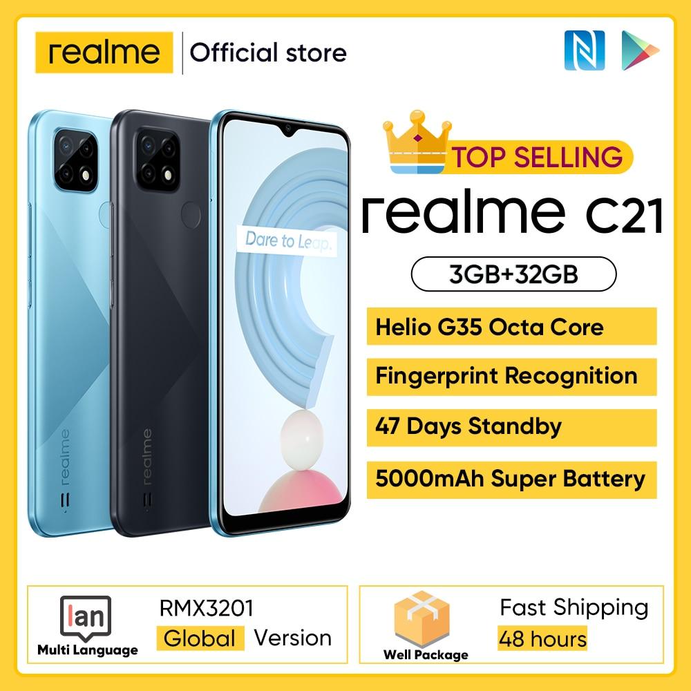 aliexpress.com - realme C21 Smartphone Global Version Helio G35 Octa Core 3GB RAM 32GB ROM 6.5″ inch display 5000mAh Large battery 3-Card Slot