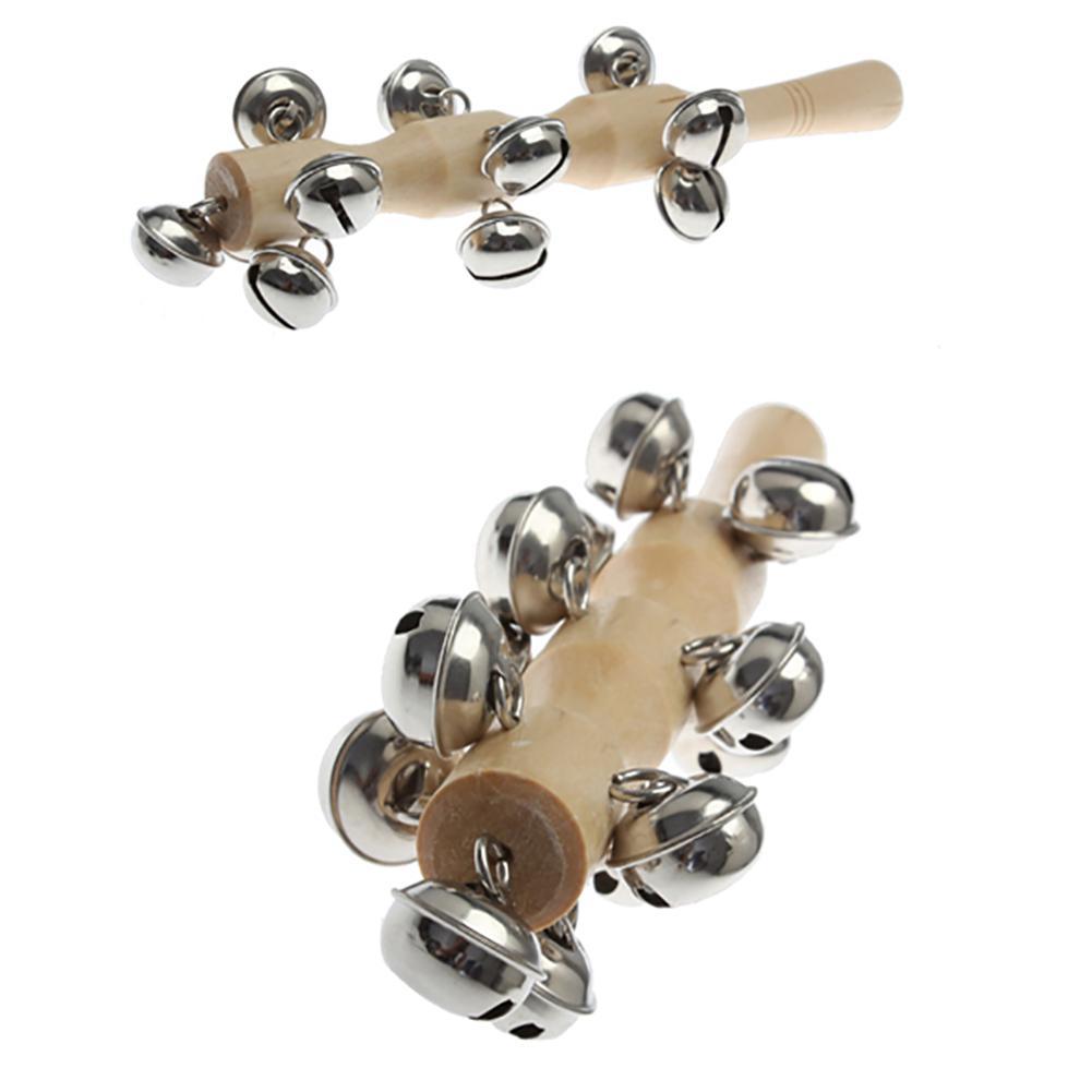 En bois en métal main cloche anneau Shaker bâton Instrument de musique enfants éducation jouet sain et sûr interactif jouet cadeaux pour bébés