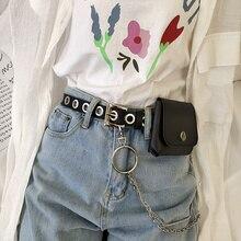 Small Bag Belt Women's Punk Korean Style Full Square Hole Buckle Punk All-Match Belt Decoration Jean