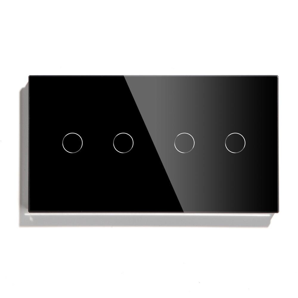 Interruptor táctil Bseed Wifi Control 4 Gang 157mm interruptor de luz cristal clase Panel interruptor blanco negro dorado