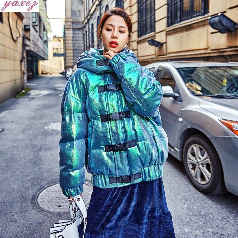 Parkas con capucha 2019 algodón acolchado brillante para mujer invierno nuevo láser verde pan corto grueso holgado calle abrigo