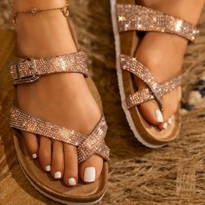 2020 Outdoor Wild Fashion Ladies Summer Shoes Women Waterproof Platform Thick Bottom Rhinestone Slippers  Beach Sandals