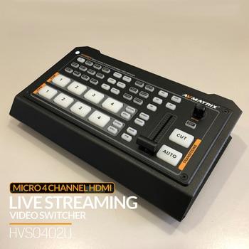 Avmatrix HVS0402U NEW 4 Channel Video Switcher HDMI-compatible Live Atreaming Qith Luma key Chroma key Downstream FTB/ PIP Tally