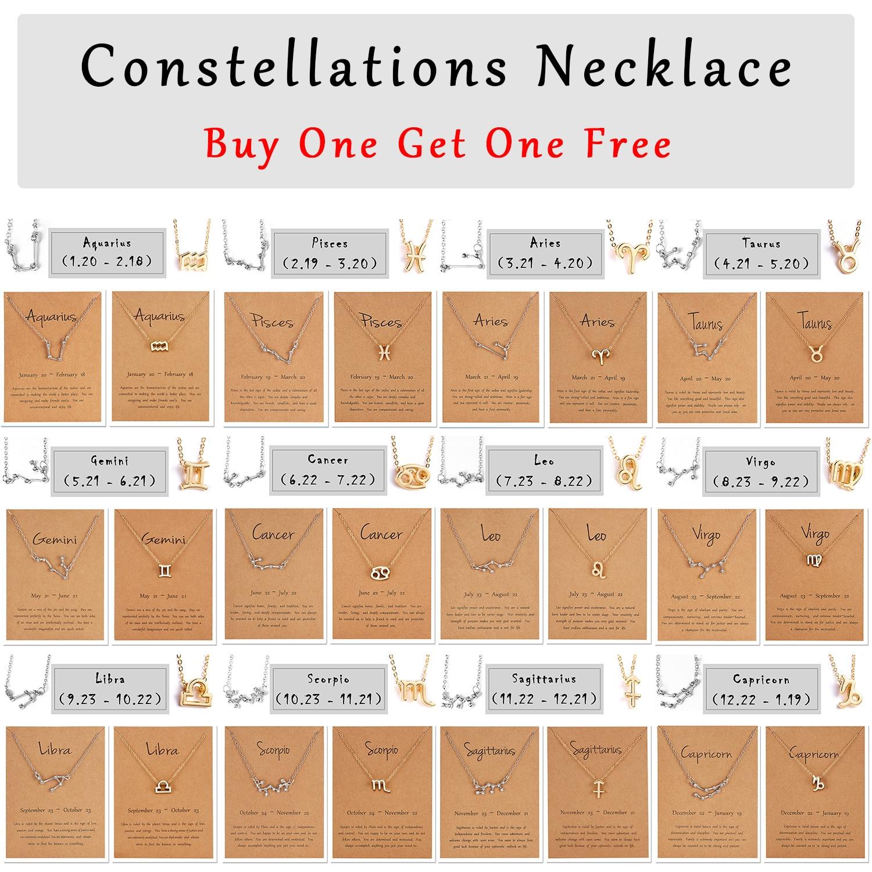 12 constelación signo del zodiaco Collar para mujeres Color oro plata joyería Leo Libra Aries colgante horóscopo astrología collar