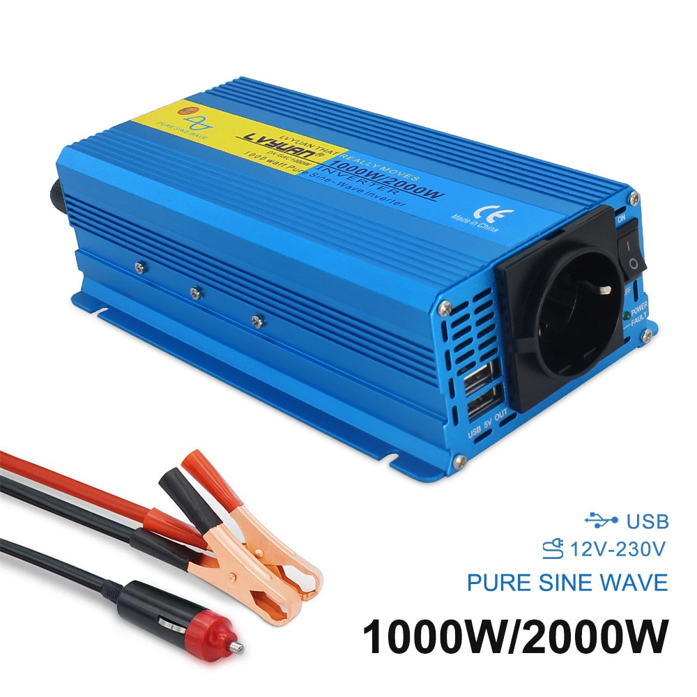 2000 w onda senoidal pura inversor de potência dc12v para ac220v 230 v carro barco acampamento conversor voltagem transformador 3.1a 2 usb plugue da ue