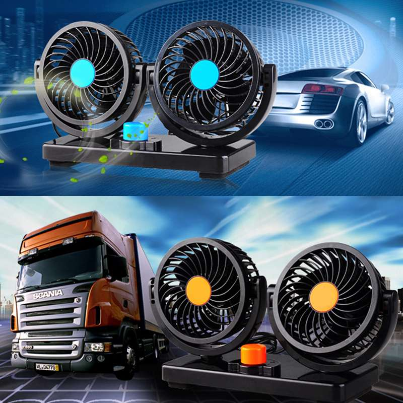 2018 newest mini fan car truck cute air fan 3 speed strong wind air cooling machine black and white low noise for car 24V/12V 2 Speed Dual Head Cooling Car Air Fan 360 Degree Adjustment Five Leaf Fans Low Noise Car Auto Cooler Air Fan Cool Tools