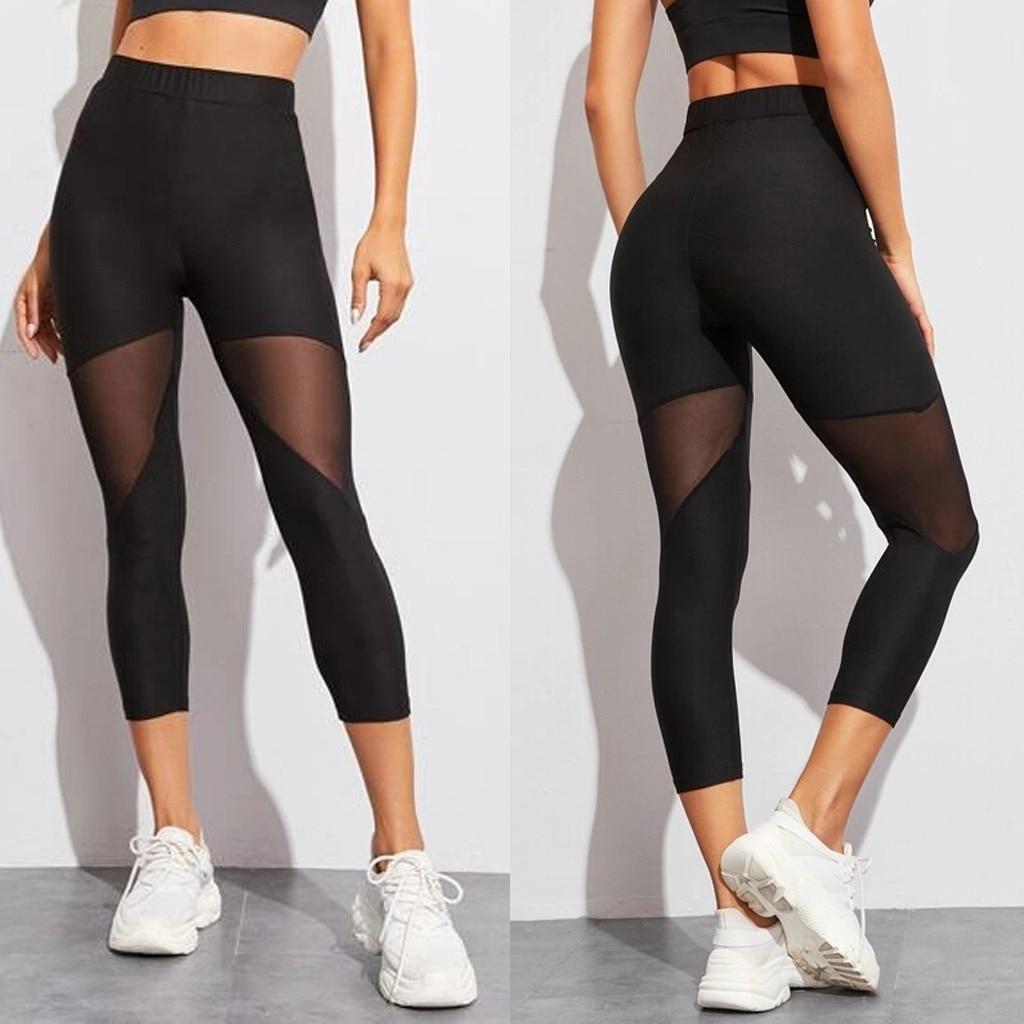 Women Mesh Patchwork Sport Leggings High Waist Pants Solid Sports Wear for Women Gym Push Up Pants Plus Size &D