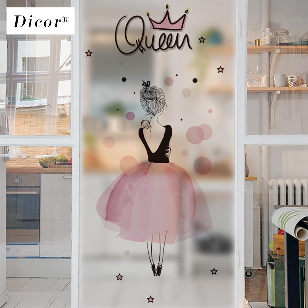 DICOR acuarela Rosa dibujo chica privacidad ventana película mancha vidrio pegatina PVC pegatina esmerilada para ventana vidrio esmerilado estática