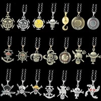 anime one piece necklace luffy ace pirate skull hat metal pendant alloy chain choker man necklaces charm gift jewelry collares