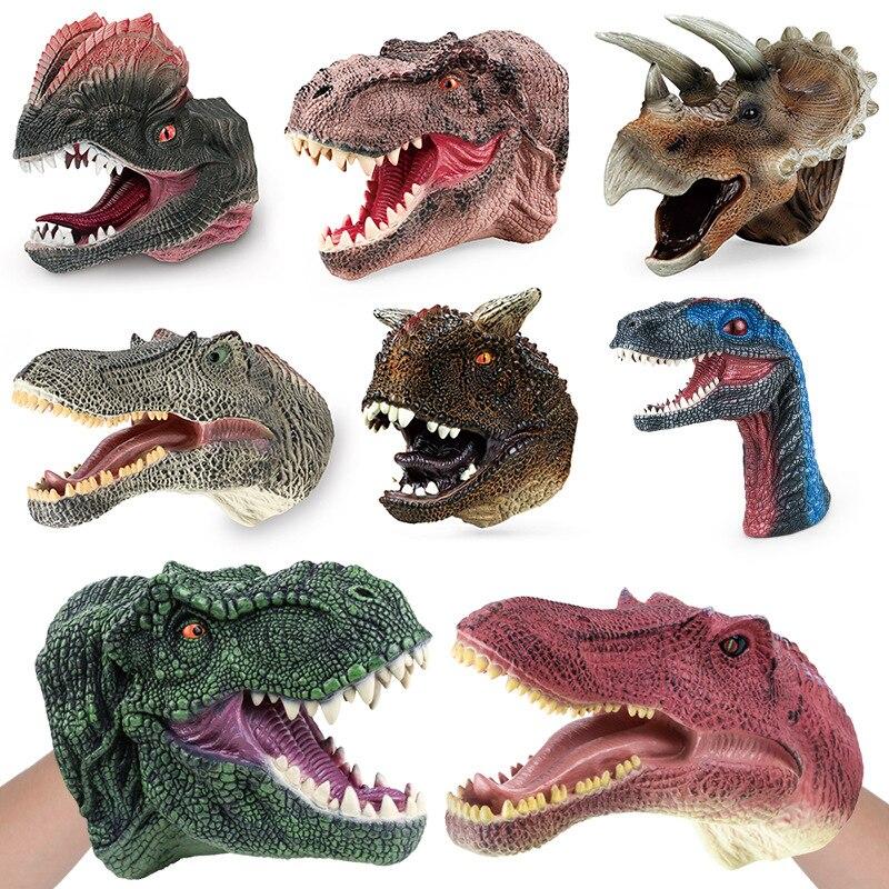 Juguetes para niños, divertido títere de mano, tiburón de goma suave, marionetas de cabeza de dinosaurio, modelo realista, figura de simulación, juego de animales, juguete de broma