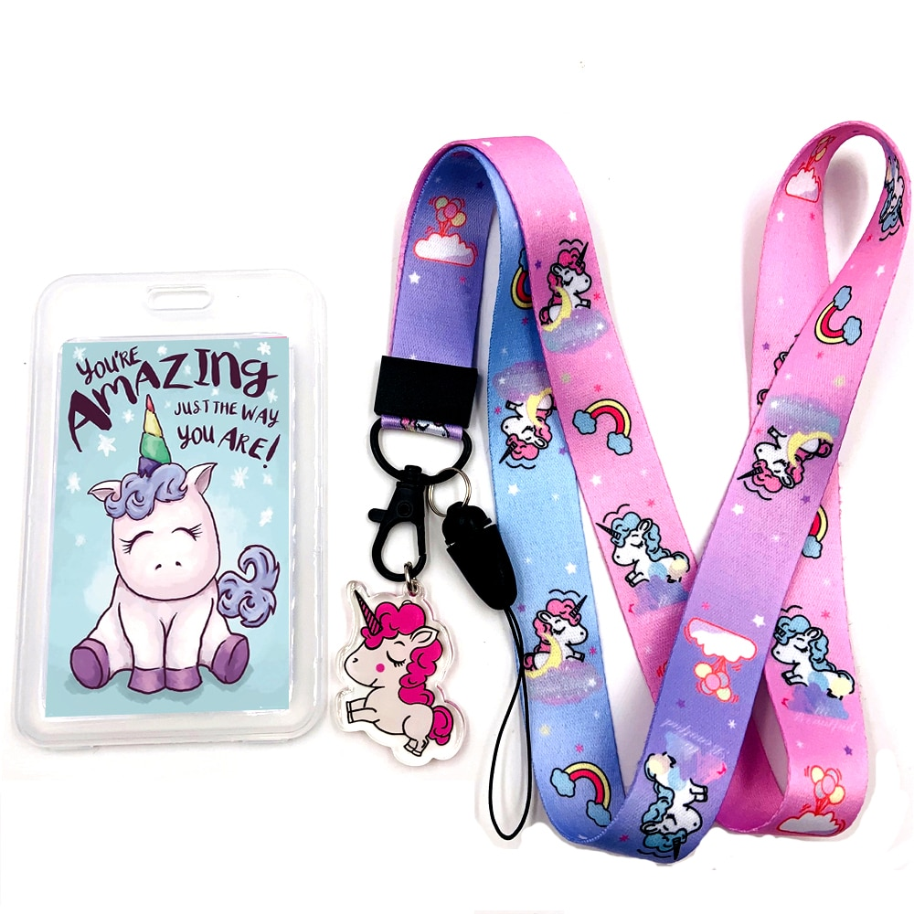 Unicorn Lanyard ID Badge Holder Case Credit Card Wallet with a Clear ID Window Slots and Neck Strap