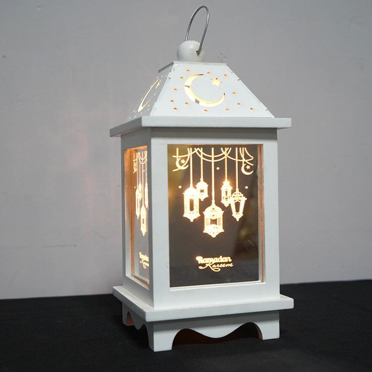 LED Lights Iron Lantern for Home Eid Mubarak Ramadan Party Decoration