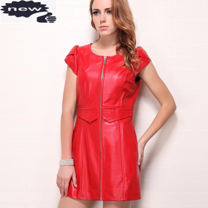 جديد الصينية نمط قصيرة الأكمام عالية الخصر س الرقبة الصيف أزياء النساء مستقيم فساتين حقيقية جلد الغنم ضئيلة اللباس