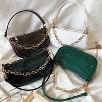 2020 new fashion crocodile pattern shoulder women bag pu hand bag personality wild fashion patent leather baguette shape handbag