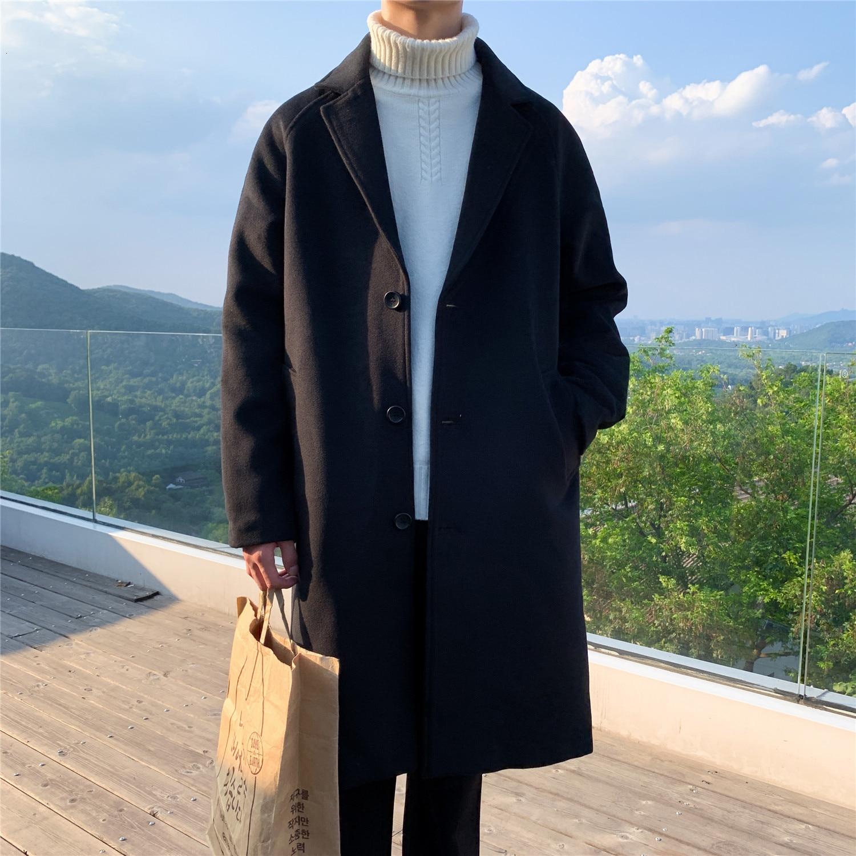 Winter Men's Heavy Woolen Blends Overcoat Male Cashmere Long Overknee Windbreaker Loose Cotton-padde