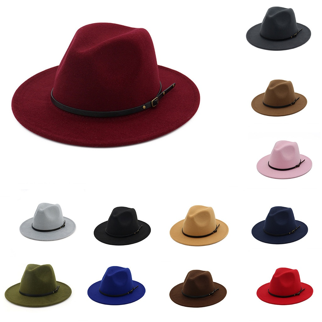 D Women's Wool Felt Outback Hat Panama Hat Wide Brim Women Belt Buckle Fedora Hat Foldable Beach Sun