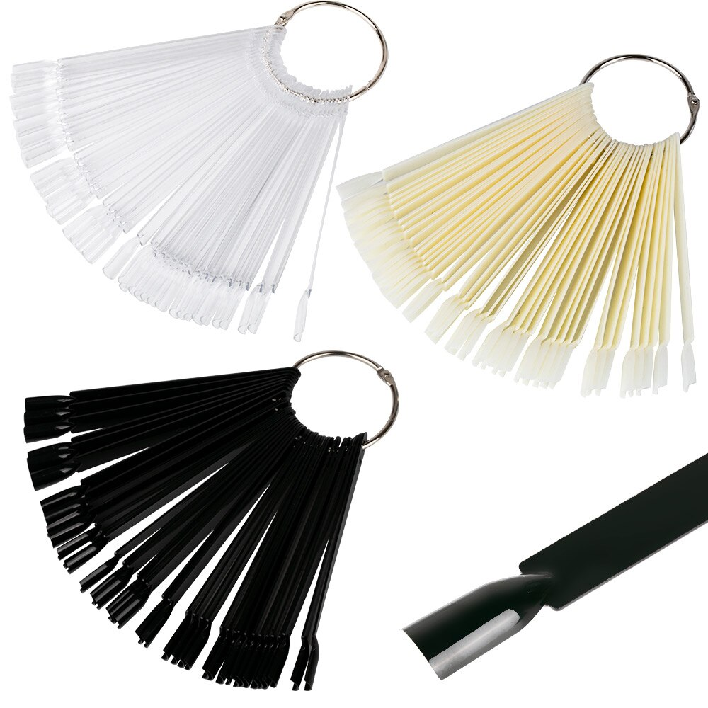Las uñas falsas de la naturaleza Negro claro Fan de dedo completo tarjeta Exhibición de arte de uña práctica Gel UV acrílico polaco herramienta manicura