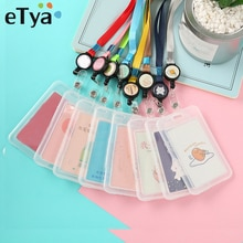 eTya Cartoon PVC Credit Card Holder Women Men Cute Business ID Card Case Kids Gift Bank Card Transparent Protector Cover Wallet