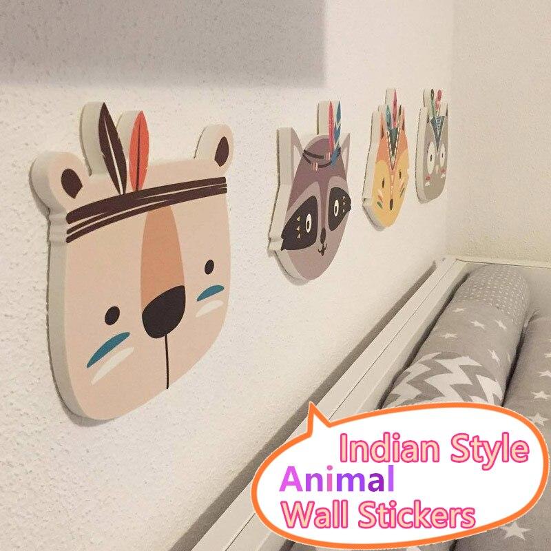 Estantes nórdicos de madera, pegatinas de pared, escultura de cabeza de Animal de estilo indio, accesorios para habitación de bebé, estante de pared de madera de dibujos animados, habitación infantil