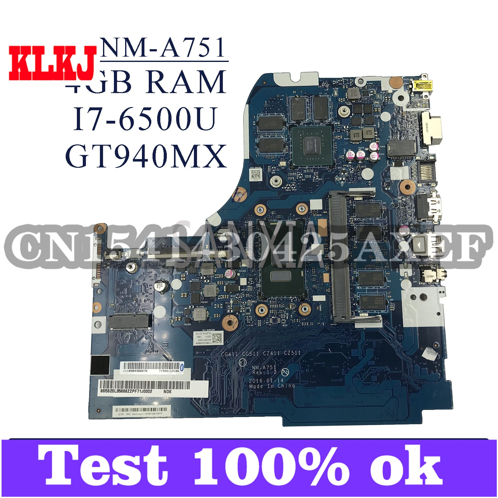 KLKJ NM-A751 اللوحة الأم لأجهزة الكمبيوتر المحمول لينوفو 310-15ISK 310-15IKB اللوحة الرئيسية الأصلية 4GB-RAM I7-6500U GT940MX-2GB