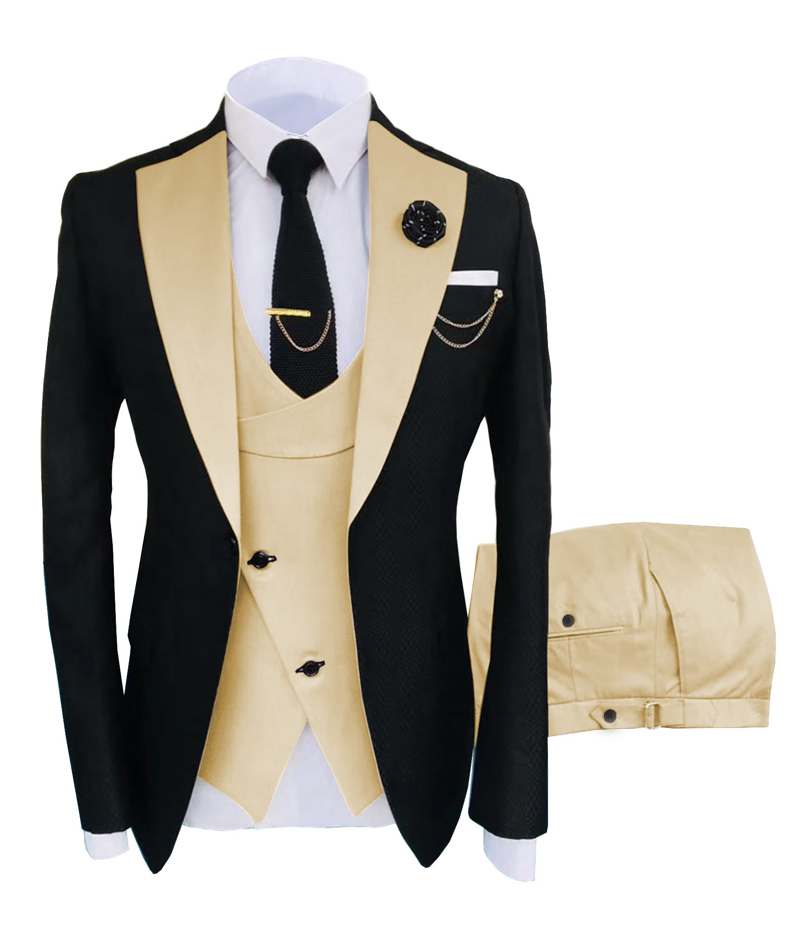 Solovedress Formal Business Fashion 3 Pieces Mens Suit Solid Tuxedos Jacket Blue Brown Gold for Wedding Groom(Blazer+Vest+Pants)