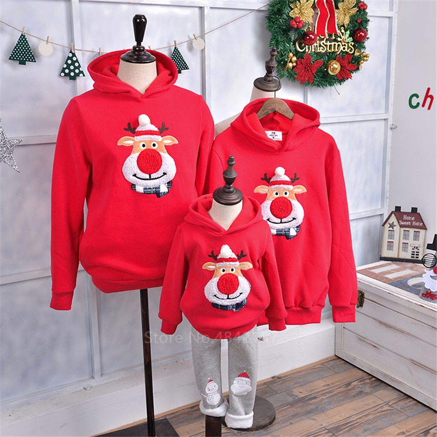 2020 Christmas Family Matching Outfits New Year Family Look Mother and Daughter Clothes Red Elk Winter Warm Xmas Hoodies