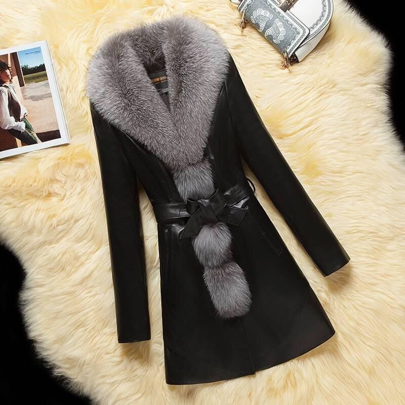 Spring Autumn Haining Leather Coat Women PU Leather Mid-length Faux Fox Fur Collar Fur Overcoat With Cotton Fur Coat Female Q324 round toe pu leather loafers with faux fur