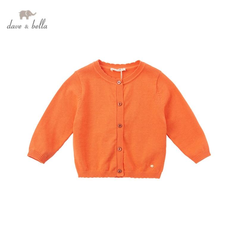 DB16711 1 нижнее белье в стиле бренда dave bella/комплект на весну и осень для маленьких девочек, модный однотонный кардиган для детей ясельного возраста, пальто для детей, милый вязаный свитер|Свитера| | АлиЭкспресс