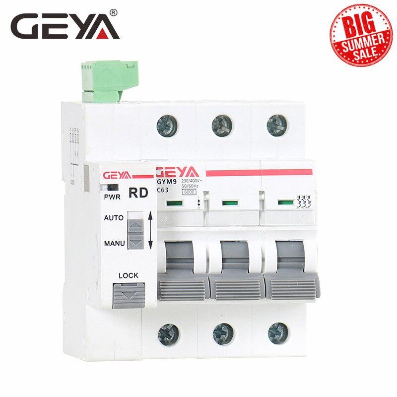 Автоматический выключатель GEYA Din Rail GYM9 3P MCB с автоматическим сбросом, автоматический выключатель для умного дома 63А MCB