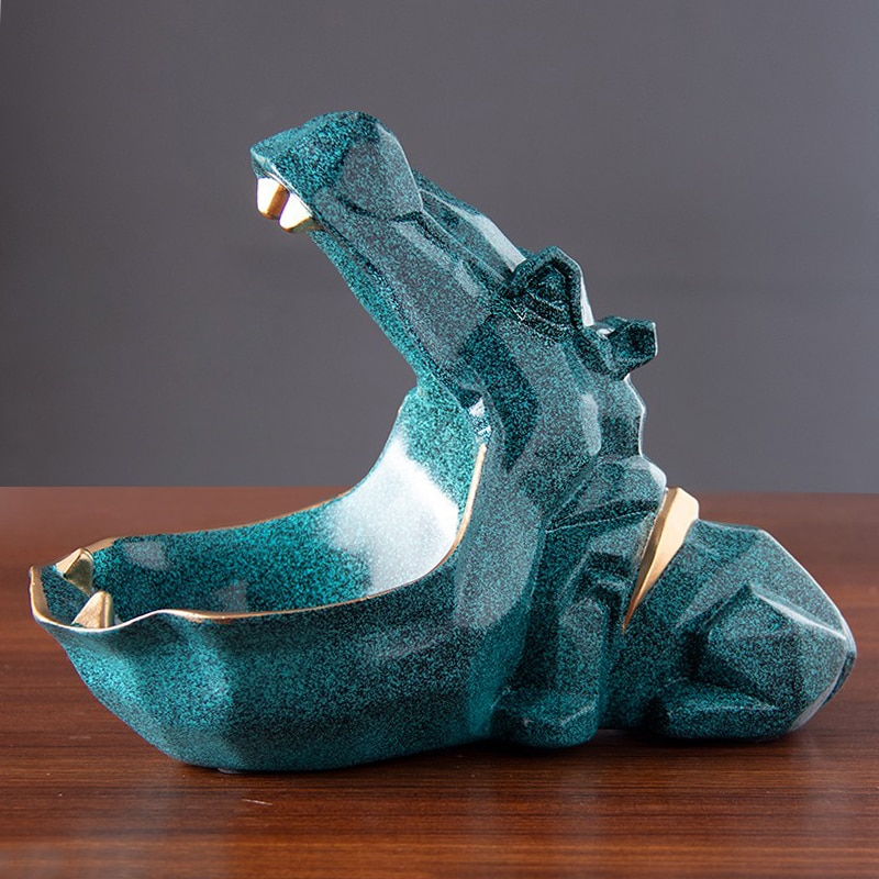 3D Sculpture,Hippo Statue,Home Decoration Accessories,Animal Figurine Miniature,Storage Box,Desk Decor,Room Table Decorative Art