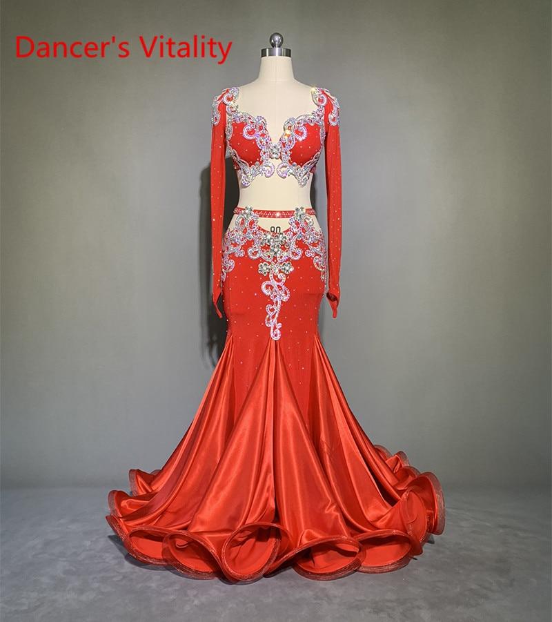 أزياء النساء المهنية الرقص الشرقي الأحمر الأكمام الطويلة الصدرية ذيل السمكة تنورة 3 قطعة مخصصة الكبار الطفل مجموعة الأداء الغريبة