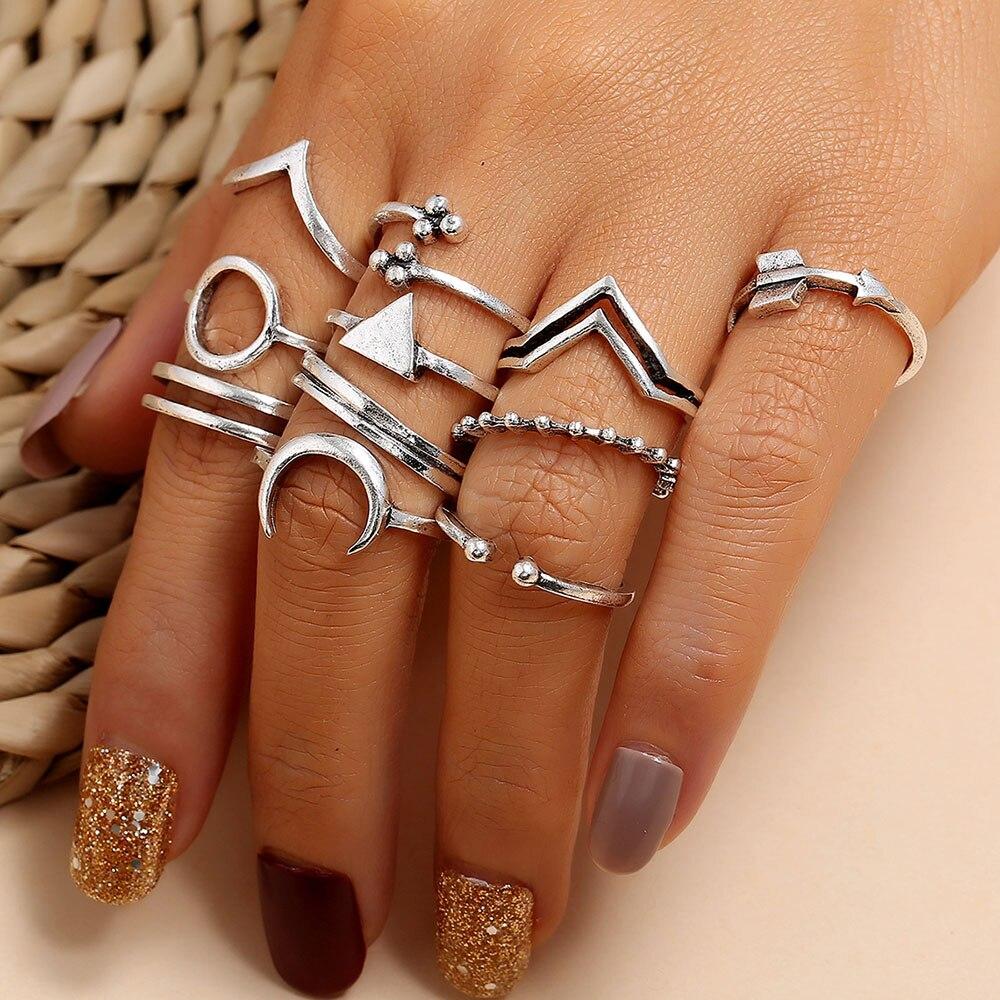 Modyle boêmio vintage junta anéis conjunto para mulher cor prata sol lua triângulo anéis de dedo jóias 2020 novo