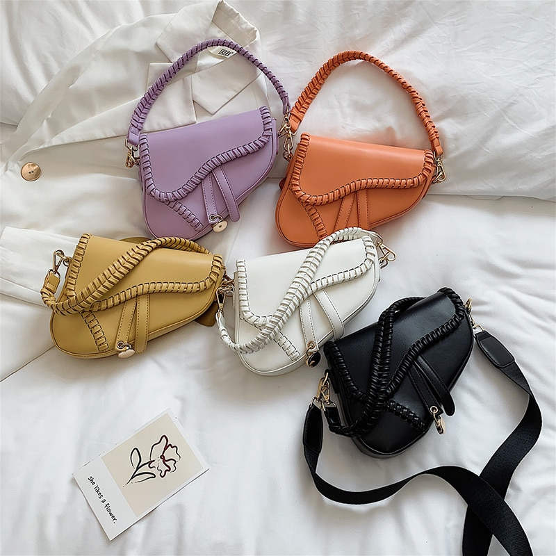 Fashion Saddle Shoulder Bags for Women 2021 New One Handle Trend Casual Hasp Zipper Material Polyest
