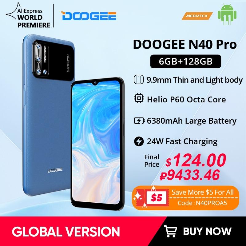 World Premiere DOOGEE N40 Pro Smartphone 6.5 inch 20MP Quad Camera Helio P60 6GB+128GB Cellphone 6380mAh Battery 24W Charging