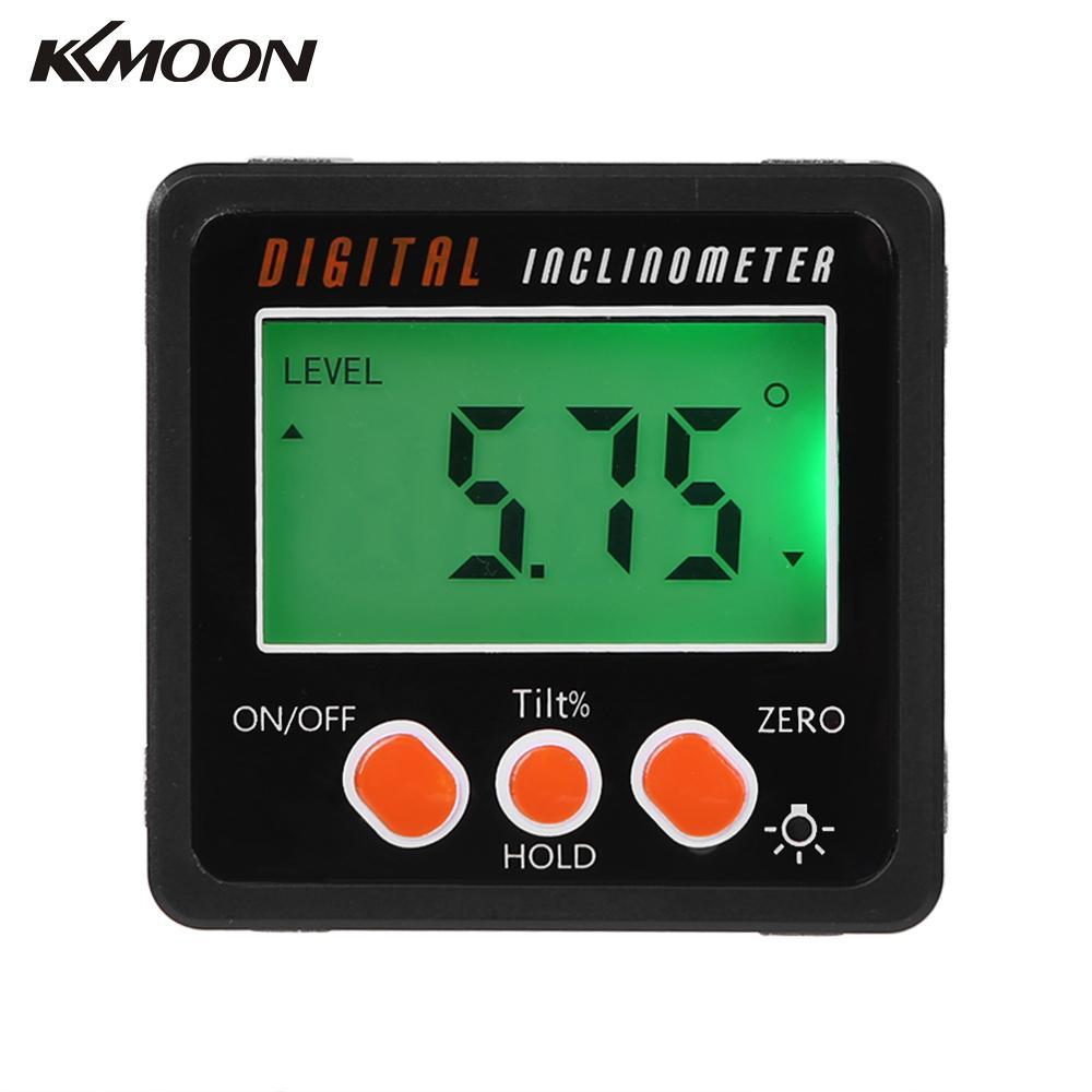 KKMOON Multifunctional Mini Backlight Digital Protractor Inclinometer Level Box Angle Gauge Meter 4*90 Degree Range Bottom