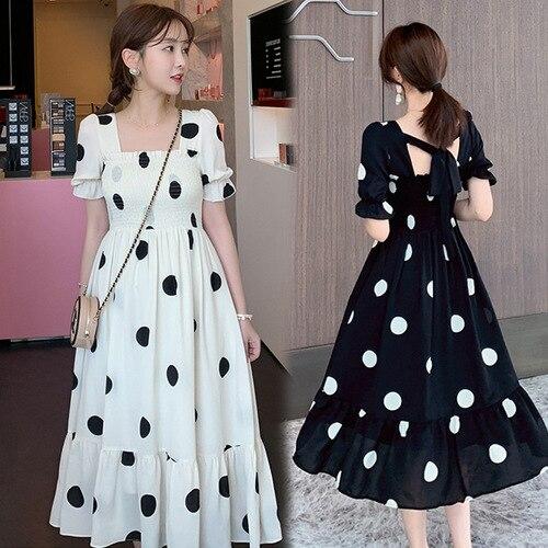 Sommer Heißer Verkauf Quadrat Kragen Kurze Puff Sleeve Nette Süße Hochschule Wind Koreanischen Stil Dot Gedruckt Weibliche Frauen Kleider