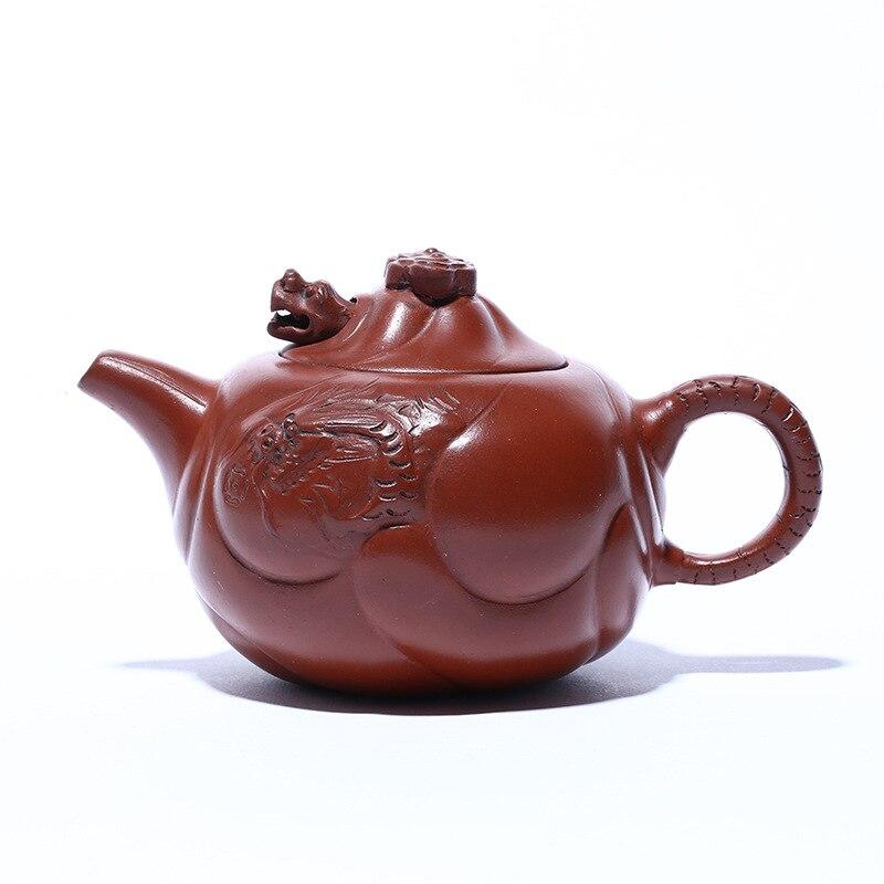 Yixing-وعاء من الطين الأرجواني القديم ، 410 مللي ، إبريق شاي الراعي Zhu ، طين السمك ، التنين ، طقم شاي كونغ فو مصنوع يدويًا