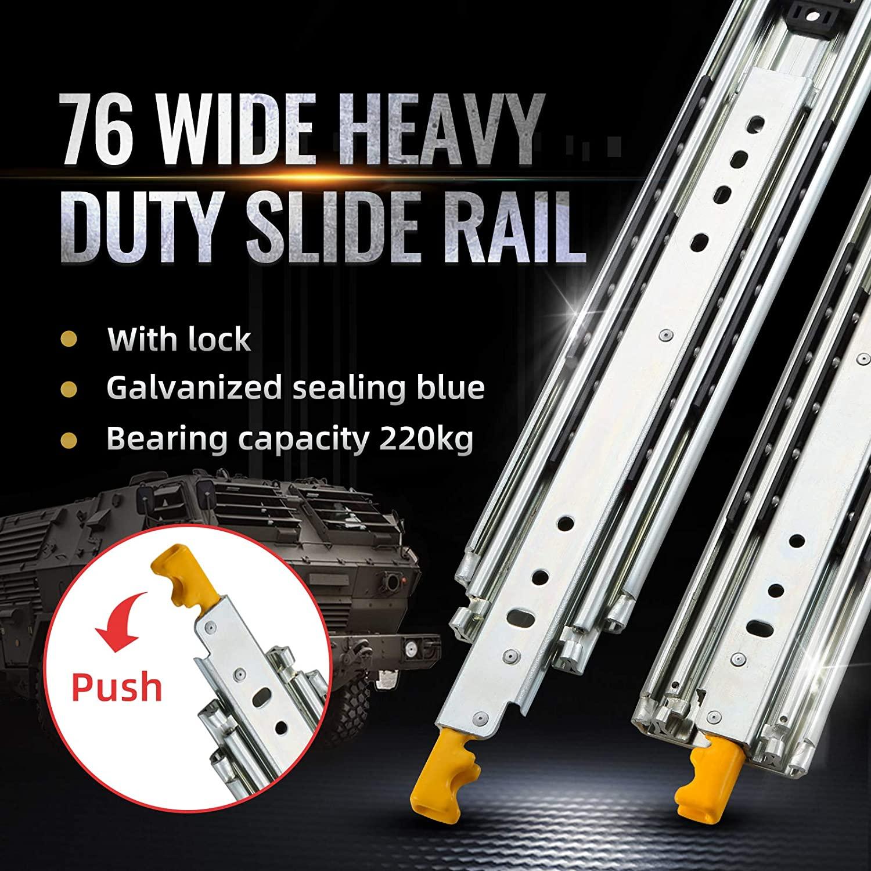 Gifsin انزلاق الباب الأجهزة ادراج ثقيلة قابلة للسحب تمديد كامل تحمل 500 lb درج مصمم الشرائح في الأثاث 1 Pair