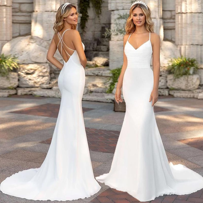 Sexy Backless Mermaid Wedding Dress For Women 2021 robe de mariée Summer Wedding Gowns Custom Made Bridal Dresses