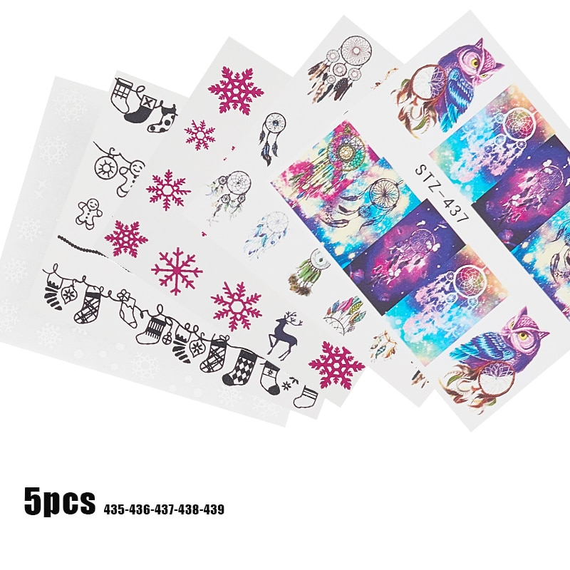 5pcs/lot Nail Sticker Decals Flamingo Butterfly Flowers Leaves Water Transfer Paper For Manicure 3D Beauty Nails Art Decorations