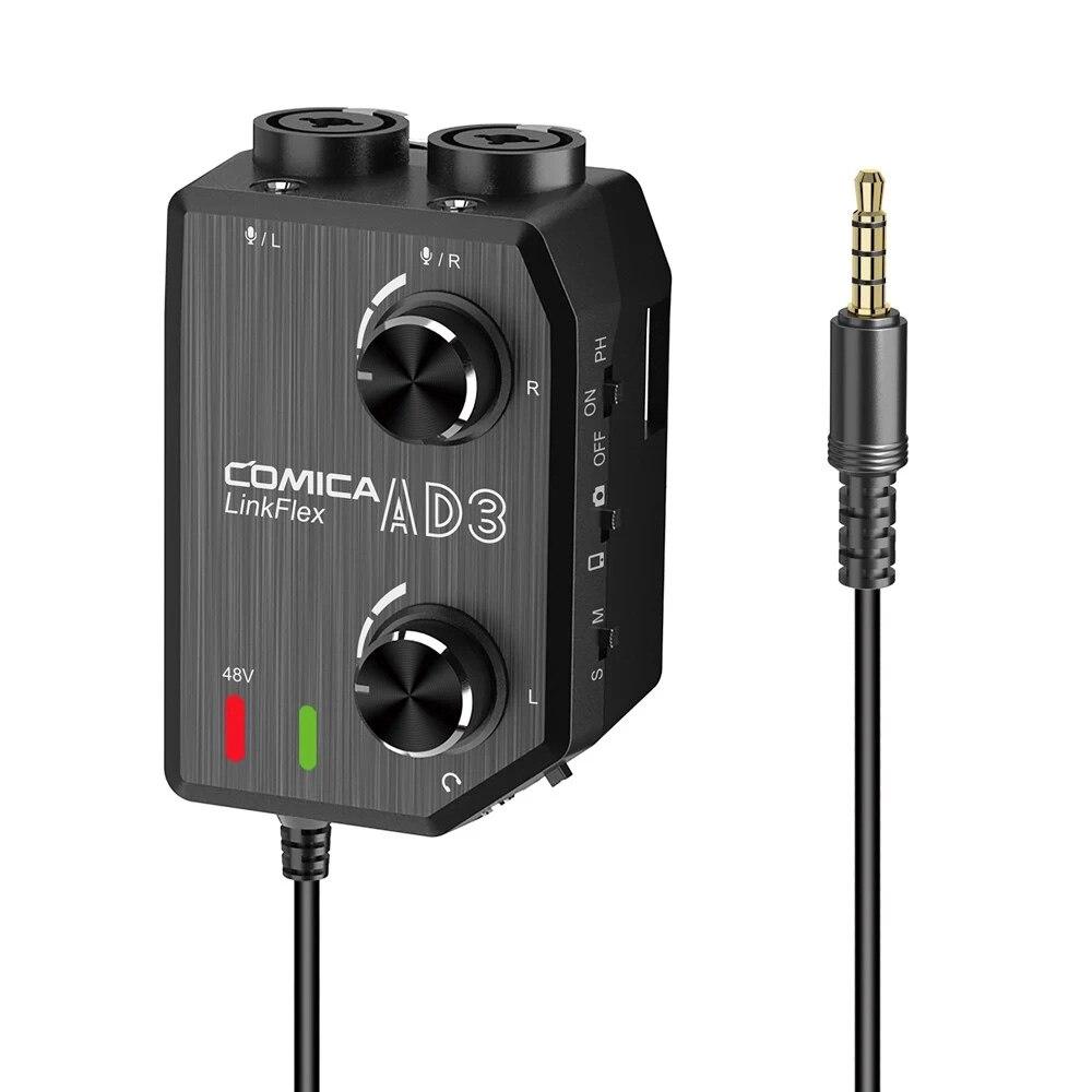 كوميكا لينكفليكس AD3 قناتين XLR/3.5 مللي متر/6.35 مللي متر-3.5 مللي متر الصوت Preamp خلاط محول واجهة ل 3.5 مللي متر كاميرات DSLR الهواتف الذكية