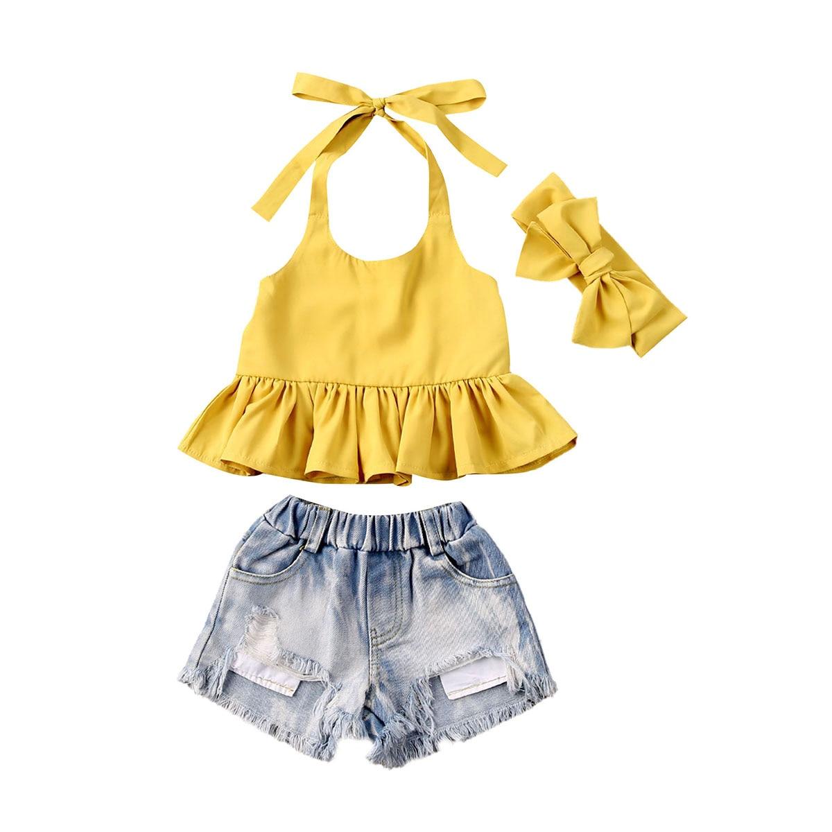 2-6years criança roupas da menina do bebê sem mangas vestido cabresto superior + denim shorts bandana conjunto de roupa de verão