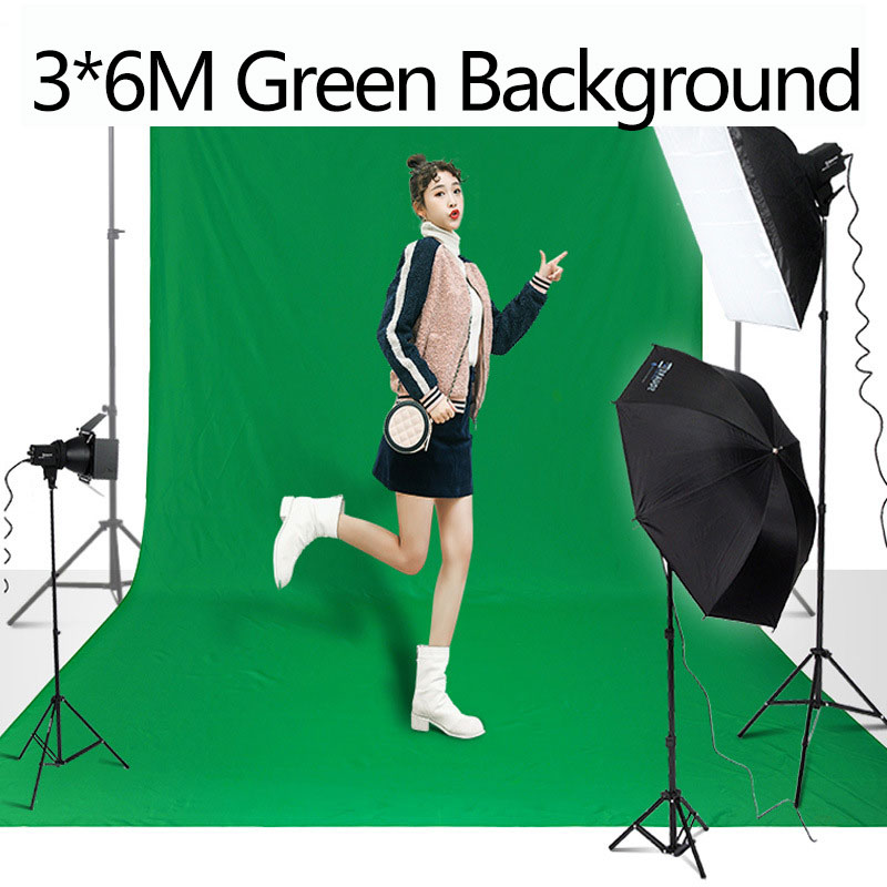 3X6M pantalla verde foto profesional fotografía telón de fondo poliéster algodón croma verde tela de fondo para estudio fotográfico