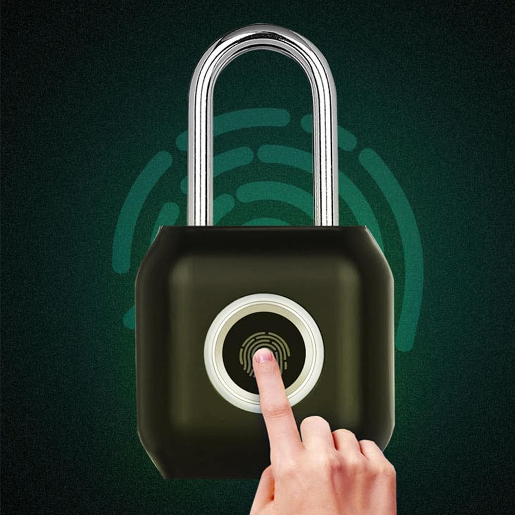 Desbloqueo rápido pequeño cajón de aleación de Zinc carga USB viaje sin llave huella dactilar inteligente candado de equipaje de seguridad Bloqueo de puerta antirrobo