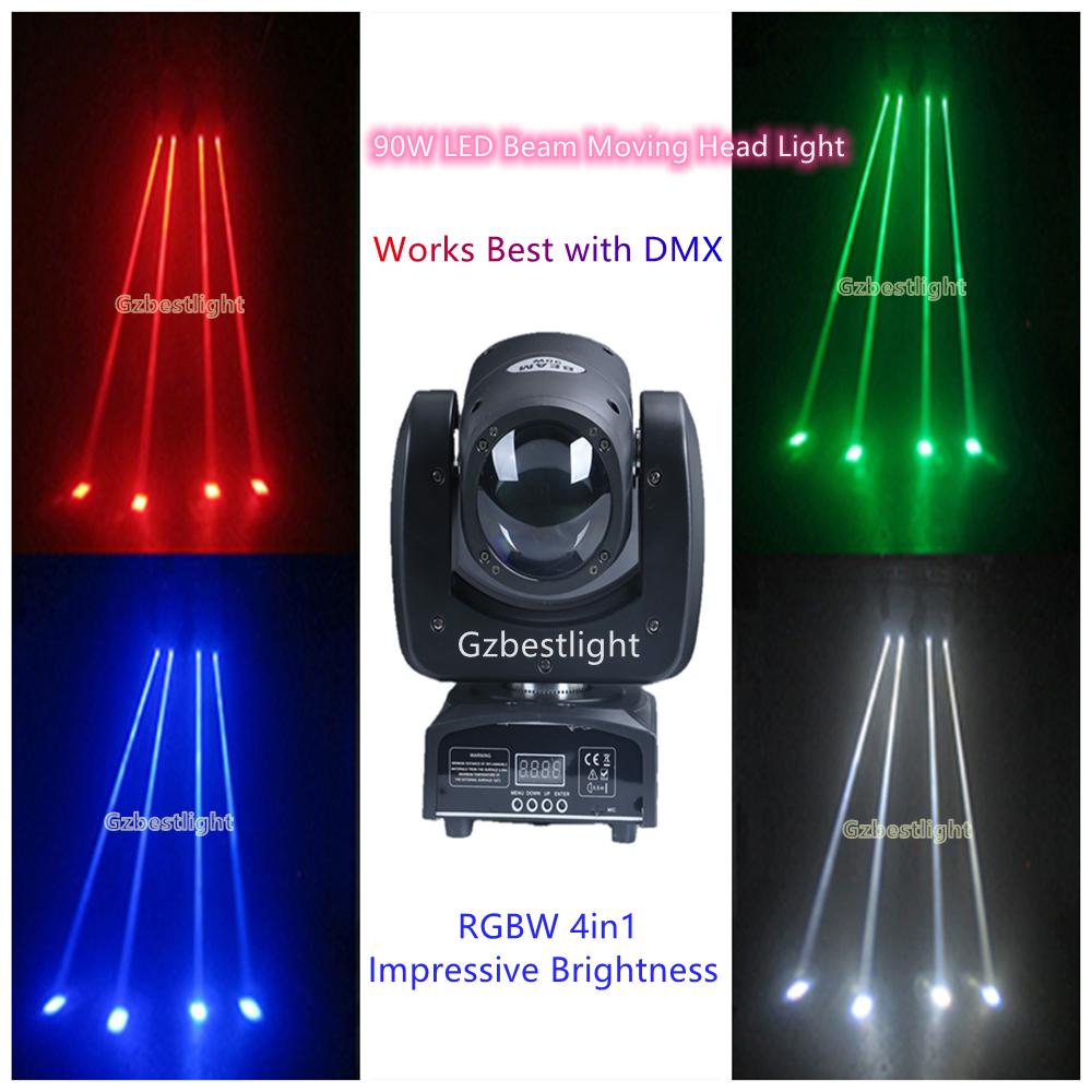 90 واط LED شعاع تتحرك رئيس ضوء RGBW 4in1 سطوع مثير للإعجاب أفضل مع DMX ، ودعم الصوت المنشط ووضع السيارات لقضبان ديسكو
