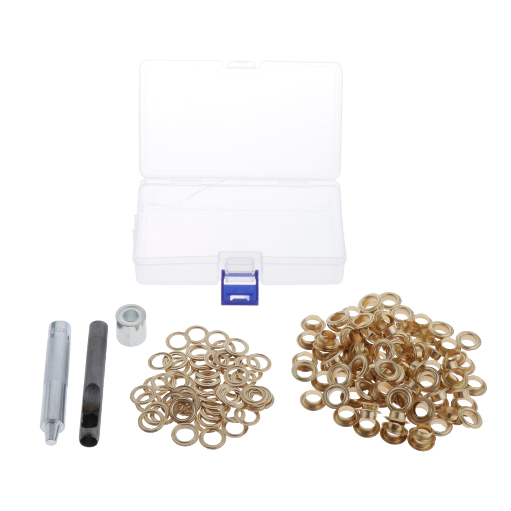 0.67 Inch Grommet Kit 100 Sets Grommets Eyelets with 3 Pieces Install Tool Kit