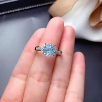 2021 sterling silver new imitation imported morsan diamond pt950 blue topaz firework cut adjustable ring women exquisite jewelry