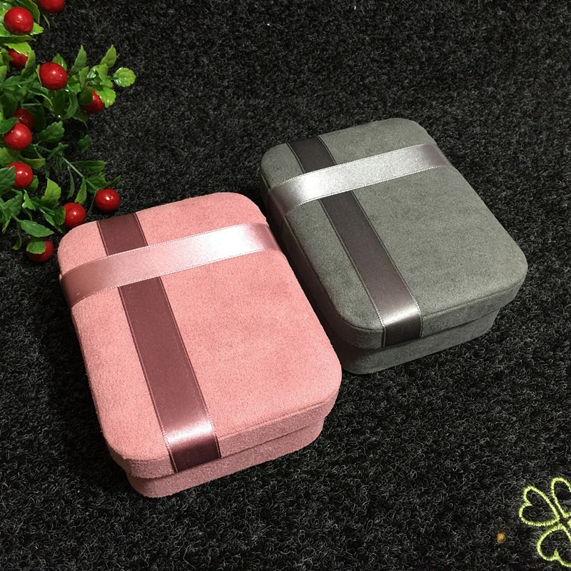 Portable Lady Jewelry Box Girl Travel Rectangular Storage Box Earring Ring Necklace Carry Case Gift